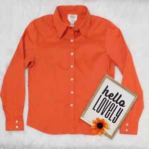 TALBOTS Orange Fitted Stretch Long Sleeve …